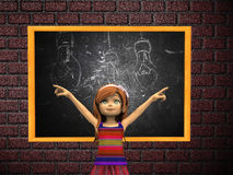 Cartoon girl and chalkboard Stock Images