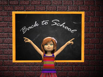 Cartoon girl and chalkboard Royalty Free Stock Images