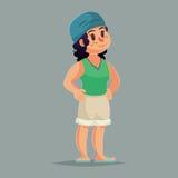 Cartoon girl character. Funny Vector illustration retro style Stock Photos