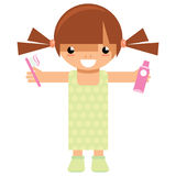 Cartoon girl character holding toothbrush and toothpaste to wash Royalty Free Stock Photography