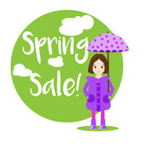 Cartoon girl character. Sale banner Royalty Free Stock Image