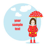 Cartoon girl character. Spring illustration Stock Images