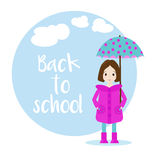 Cartoon girl character with umbrella. Back to school vector background Stock Photo