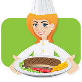 Cartoon girl chef serving steak Stock Photography