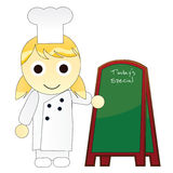 Cartoon Girl Chef with Signboard Royalty Free Stock Photos