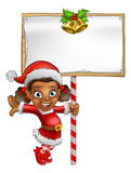 Cartoon Girl Christmas elf Holding Sign Stock Photos