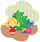 Cartoon girl and christmas tree gifts Stock Photos