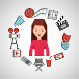 Cartoon girl cinema movie icons. Vector illustration eps 10 Royalty Free Stock Photo