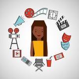Cartoon girl cinema movie icons. Vector illustration eps 10 Stock Images