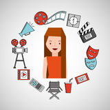 Cartoon girl cinema movie icons Royalty Free Stock Images