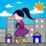 Cartoon girl in city Royalty Free Stock Photo