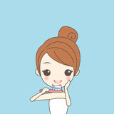 Cartoon girl clean her tooth Royalty Free Stock Photos