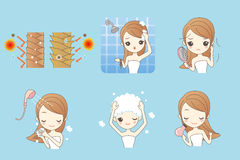Cartoon girl cleaning her hair vector illustration