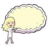 Cartoon girl with cloud text space Stock Photos