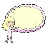 Cartoon girl with cloud text space Royalty Free Stock Image