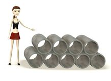 Cartoon girl with construction material Royalty Free Stock Images