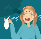 Cartoon girl crying. Girl with a handkerchief and tears Stock Photos