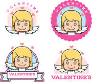 Cartoon Girl Cupid Graphic Stock Images