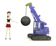 Cartoon girl with destruction crane Royalty Free Stock Image