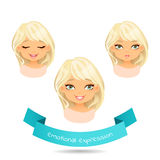 Cartoon girl with different expressions of emotion. Blue eyed blonde with various facial expressions. Set of different emotions of a girl: smile, joy, surprise Royalty Free Stock Images