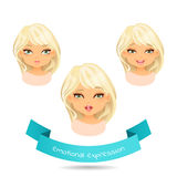 Cartoon girl with different expressions of emotion. Cute blue eyed blonde with different facial expressions. Set of different emotion: smile, laugh, licking Stock Photos