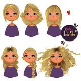 Cartoon girl with different hairs Royalty Free Stock Photos