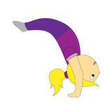 A cartoon girl in different yoga postures is simple and airy Stock Photo