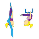 A cartoon girl in different yoga postures is simple and airy Royalty Free Stock Photo