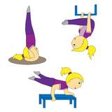 A cartoon girl in different yoga postures is simple and airy Stock Photos