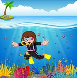 Cartoon girl diving in the sea. Illustration of Cartoon girl diving in the sea stock illustration