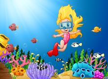 Cartoon girl diving in the sea Royalty Free Stock Images