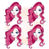 Cartoon girl do different expressions Stock Photo