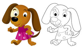 Cartoon girl dog - coloring page with preview Royalty Free Stock Images