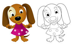 Cartoon girl dog - coloring page with preview Royalty Free Stock Photography