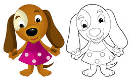 Cartoon girl dog - coloring page with preview. Happy and funny traditional illustration for children - scene for different usage stock illustration