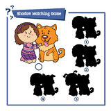 Cartoon girl and dog. Vector illustration of educational shadow matching game with cartoon girl and dog for children Stock Photo