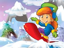 Cartoon girl doing freestyle slide Royalty Free Stock Images