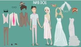 Cartoon girl doll with clothes for changes royalty free illustration