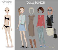 Cartoon girl doll with clothes for changes. Cartoon vector girl doll with clothes for changes Royalty Free Stock Photography