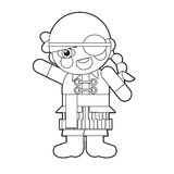 Cartoon girl - doll - coloring page - illustration for the children Stock Images