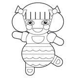 Cartoon girl - doll - coloring page - illustration for the children Stock Photos