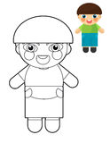 Cartoon girl - doll - coloring page with preview for children Stock Photos