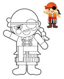 Cartoon girl - doll - coloring page with preview for children Stock Images