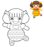 Cartoon girl - doll - coloring page with preview for children Royalty Free Stock Images