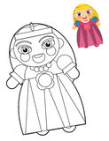 Cartoon girl - doll - coloring page with preview for children Royalty Free Stock Photos