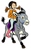 Cartoon girl with donkey Royalty Free Stock Images