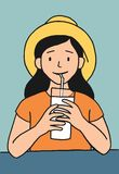 Cartoon girl drinking Stock Photo