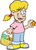 Cartoon girl on an Easter egg hunt. Cartoon illustration of a girl with an Easter basket finding Easter eggs Royalty Free Stock Images