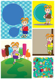 Cartoon Girl Eat Ice Cream Card Set_eps Royalty Free Stock Photography