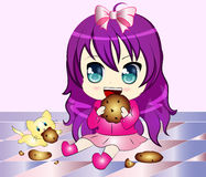 Cartoon Girl eating Cookie. Vector Illustration of a Cartoon Girl eating cookie with a cat Stock Photography